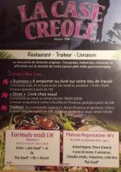 Menu La case créole - La formule midi, le plateau dégustation et autres informations