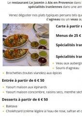 Menu Le jasmin - Les menus, spécialités iraniennes,...