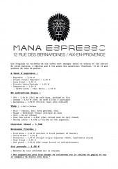 Menu Mana espresso - Les thés, jus,...
