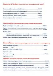 Menu Marasino - Les focaccias et verdure, nostri taglieri, cassolettes et salades