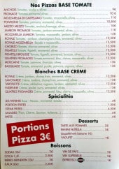 Menu Pizza pépé - Les pizzas, desserts et boissons