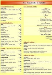 Menu Pizza Robert - Les sandwichs et salades