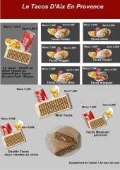 Menu Tacos d'aix en Provence - Les menus
