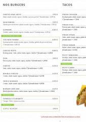 Menu Zam & zam - Les burgers et tacos