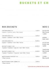 Menu Zam & zam - Les buckets et chickens