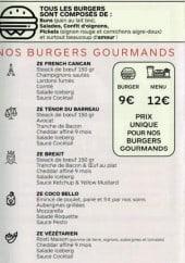 Menu Ze Kitchen - Les burgers