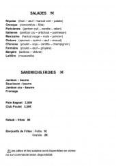 Menu La Mandibule - Salades et sandwiches froids