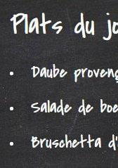 Menu La Table Verte - Exemple de plat du jour