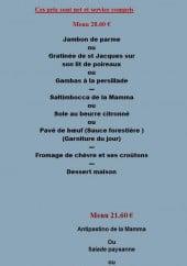 Menu La Mamma - Les menus suite