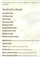 Menu La Pat a Sab - les sandwichs chauds
