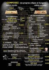 Menu Côté crêpe - Crêpes, burgers, boissons,....