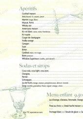 Menu L'Air Du Temps - Les apéritifs , soda, sirop et menu enfant