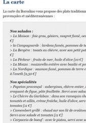 Menu Le Borsalino - plats à la carte
