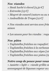 Menu Le Borsalino - plats à la carte suite