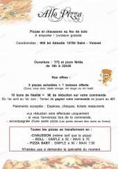 Menu Allo Pizza - Les informations supplémentaires