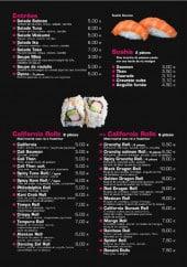 Menu Tokio Sushi - les entrées, california rolls et sushis