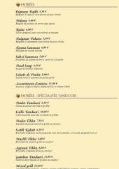 Menu Benazir - Les entrées