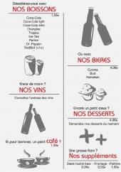 Menu L'atelier du burger - Les boissons, vins,...