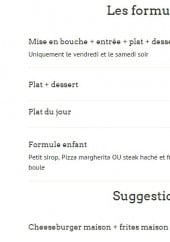 Menu L'instant - Les formules menus et la suggestion