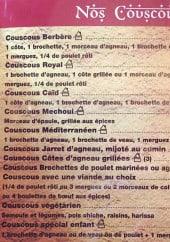 Menu Le Berbere - Couscous