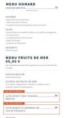 Menu Le Baligan - Le menu homard et menu fruits de mer