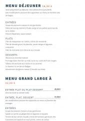 Menu Le Baligan - Le menu déjeuner et menu grand large