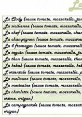 Menu Bon App' - Les pizzas: clody, sicilienne, chef...