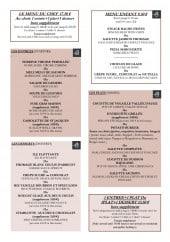 Menu Le Domesday - Les menus