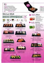 Menu Sushi Plaza - Roll's mon, roll's spring, californias, ...