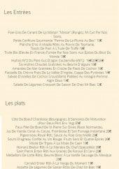 Menu L'Endroit - Les entrées et plats