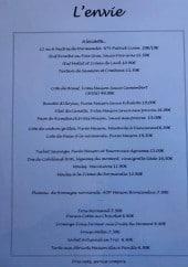 Menu L'Envie - Les entrées, plats et desserts
