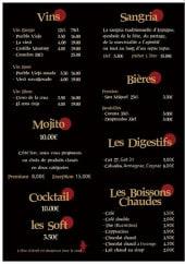 Menu La Taberna - Les boissons