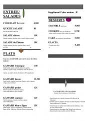 Menu Gaspard burger - Le menu à la carte