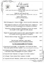 Menu L'Astoria - Salades et plats