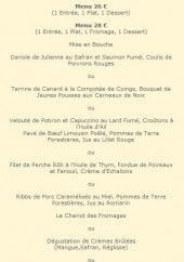 Menu Auberge Saint Jean - Menu 26€ et 28€