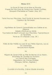 Menu Auberge Saint Jean - Menu 33€