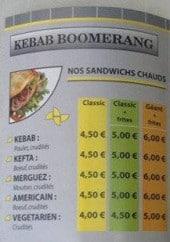 Menu Le Boomerang - Les sandwiches et suppléments