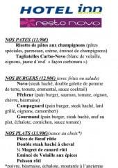 Menu Resto Novo - Les pâtes, burgers, plats et desserts