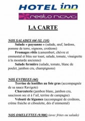 Menu Resto Novo - Les salades, entrées, omelettes et pizzas