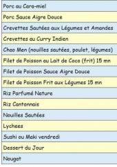 Menu Iles et Dragon - Les plats à emporter: porc au cara-miel, porc sauce aigre douce,....