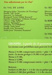 Menu Le saint Ursin - Les vins et menus groupes