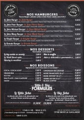 Menu John Burger - Burgers, desserts et boissons
