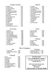 Menu Le Soleil d'Asie - Poulet, porc, crevettes,...