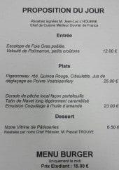 Menu Le Boudoir d'Epicure - La proposition du jour et menu burger