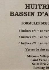 Menu Des Trois Forgerons - Huitres, vins