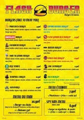 Menu Flash Burger - Les burgers et menus