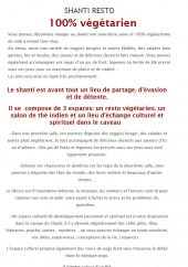 Menu Le shanti - Les informations sur le restaurant