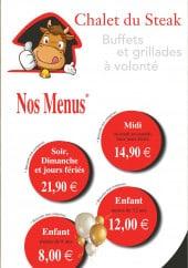 Menu Chalet du Steak - Carte et menu Chalet du Steak Chenove