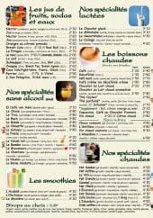 Menu Au Vieux Saint Sauveur - Les jus de fruits, sodas, eaux...