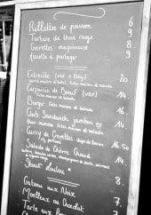 Menu La plage - Le menu